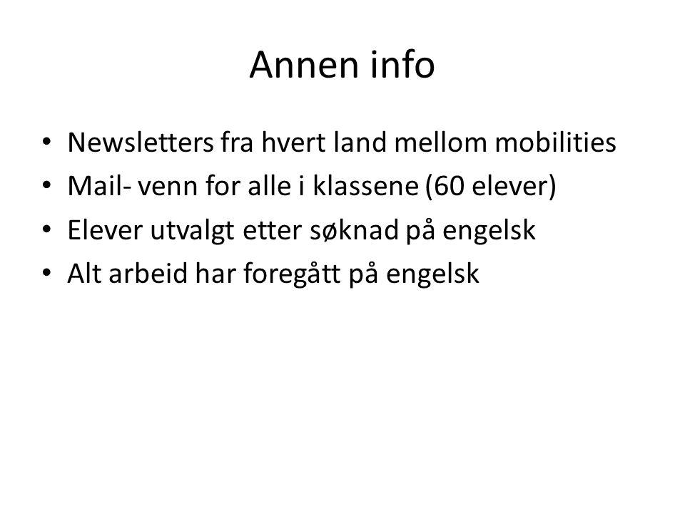 Annen info Newsletters fra hvert land mellom mobilities Mail- venn for alle i klassene (60 elever) Elever utvalgt etter søknad på engelsk Alt arbeid har foregått på engelsk