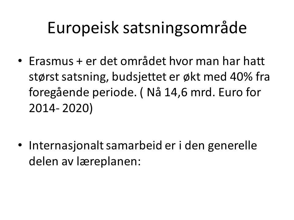 Europeisk satsningsområde Erasmus + er det området hvor man har hatt størst satsning, budsjettet er økt med 40% fra foregående periode. ( Nå 14,6 mrd.