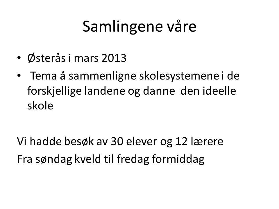Samlingene våre Østerås i mars 2013 Tema å sammenligne skolesystemene i de forskjellige landene og danne den ideelle skole Vi hadde besøk av 30 elever og 12 lærere Fra søndag kveld til fredag formiddag