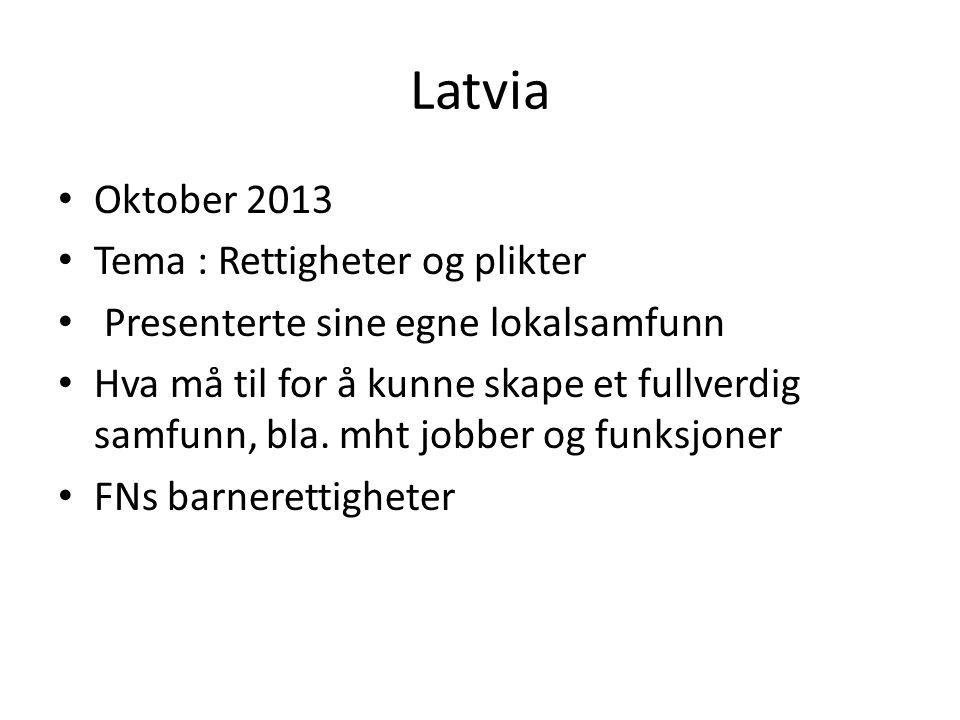 Latvia Oktober 2013 Tema : Rettigheter og plikter Presenterte sine egne lokalsamfunn Hva må til for å kunne skape et fullverdig samfunn, bla.