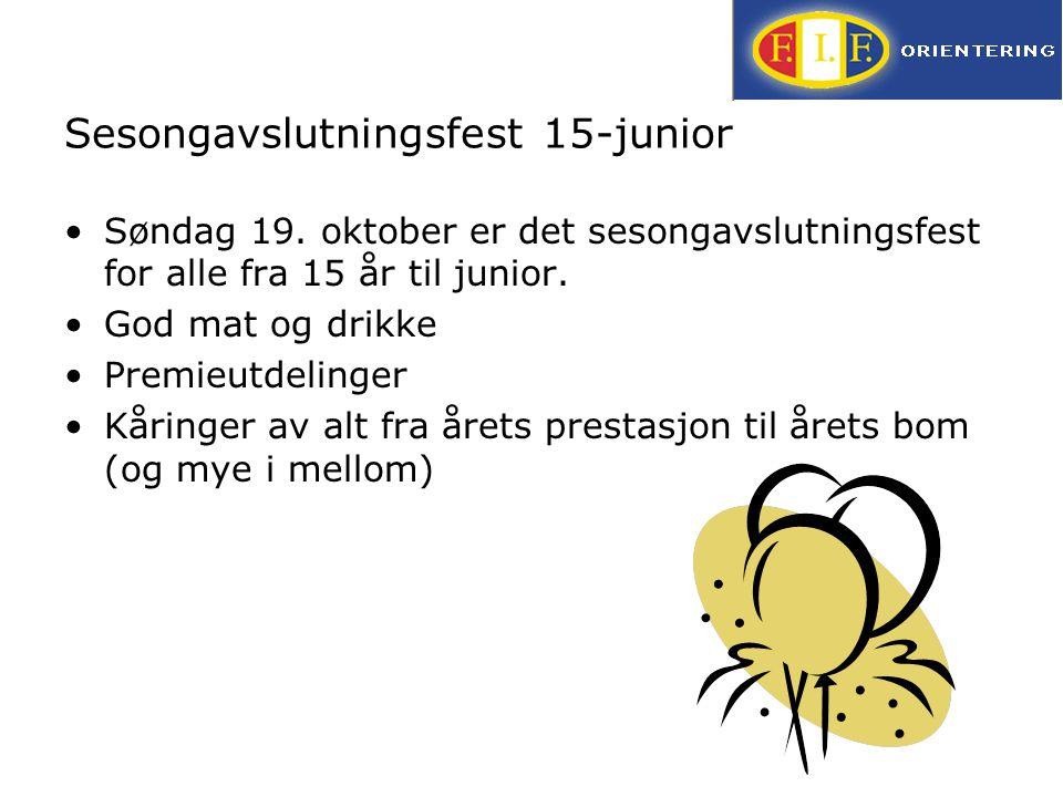 Sesongavslutningsfest 15-junior Søndag 19. oktober er det sesongavslutningsfest for alle fra 15 år til junior. God mat og drikke Premieutdelinger Kåri