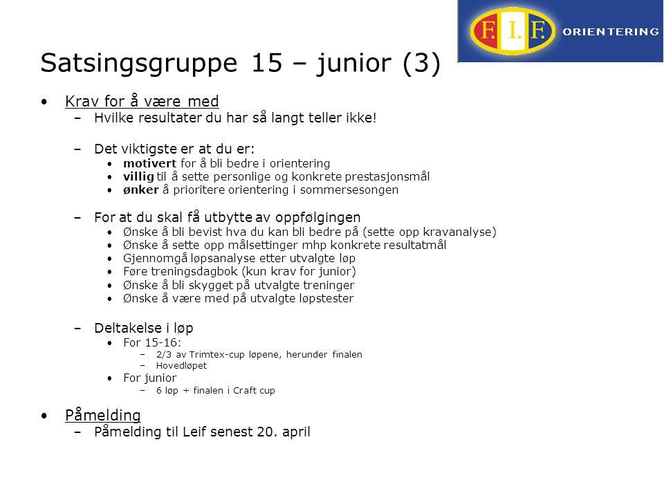 Satsingsgruppe 15 – junior (3) Krav for å være med –Hvilke resultater du har så langt teller ikke! –Det viktigste er at du er: motivert for å bli bedr