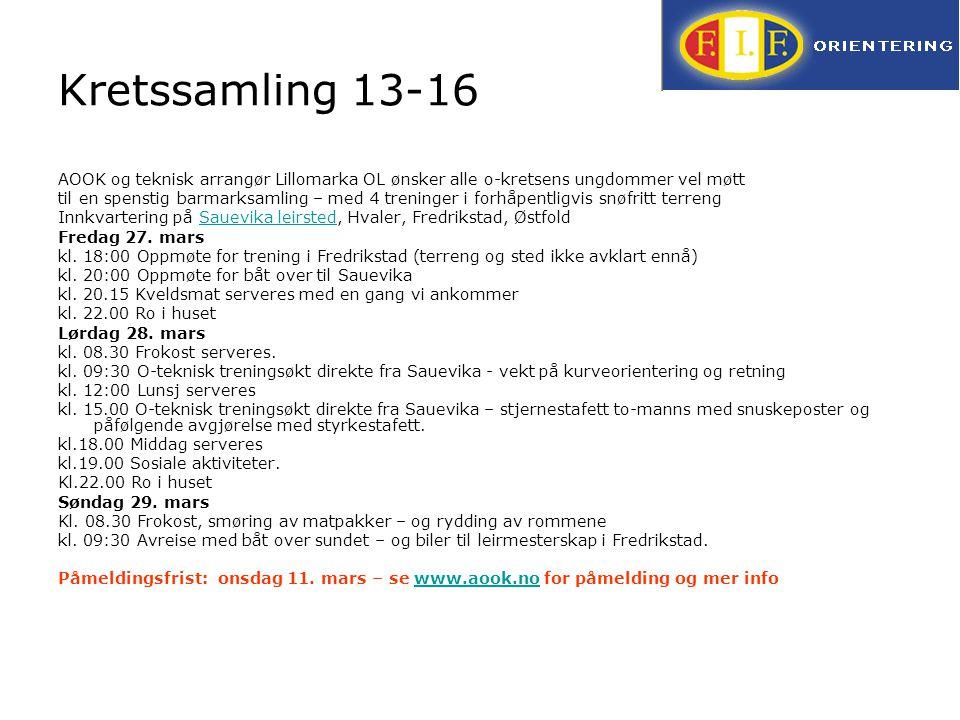 Kretssamling 13-16 AOOK og teknisk arrangør Lillomarka OL ønsker alle o-kretsens ungdommer vel møtt til en spenstig barmarksamling – med 4 treninger i