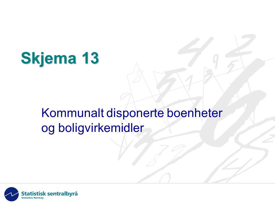 Skjema 13 Kommunalt disponerte boenheter og boligvirkemidler