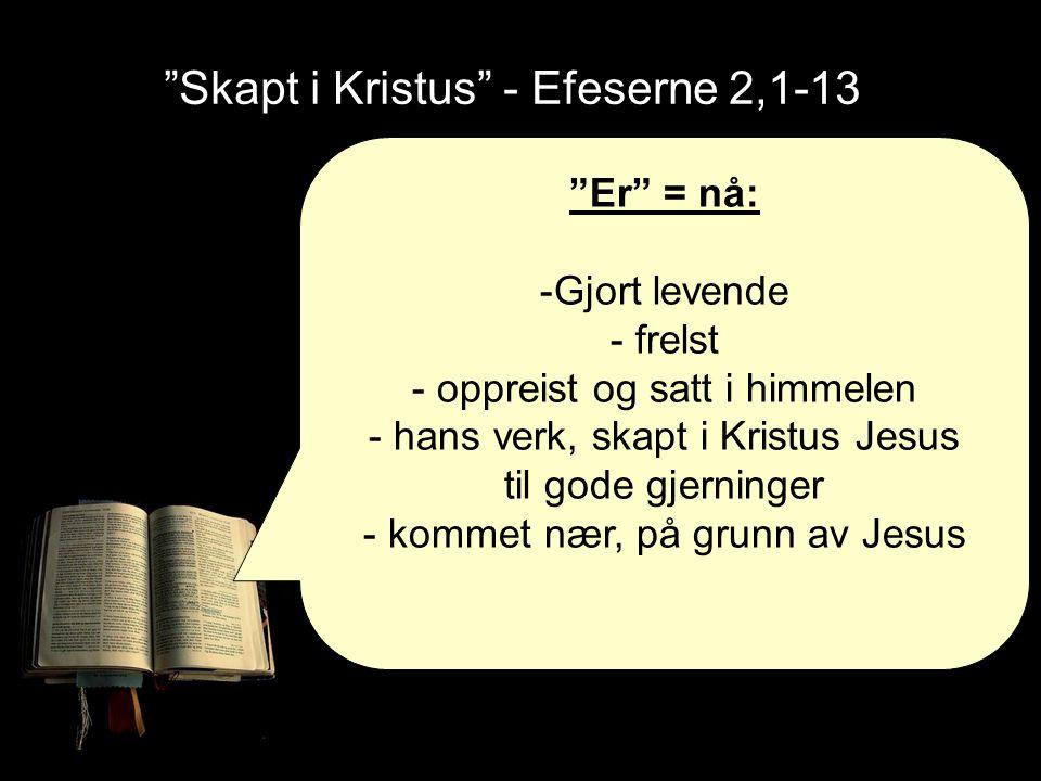 """""""Skapt i Kristus"""" - Efeserne 2,1-13 """"Er"""" = nå: -Gjort levende - frelst - oppreist og satt i himmelen - hans verk, skapt i Kristus Jesus til gode gjern"""
