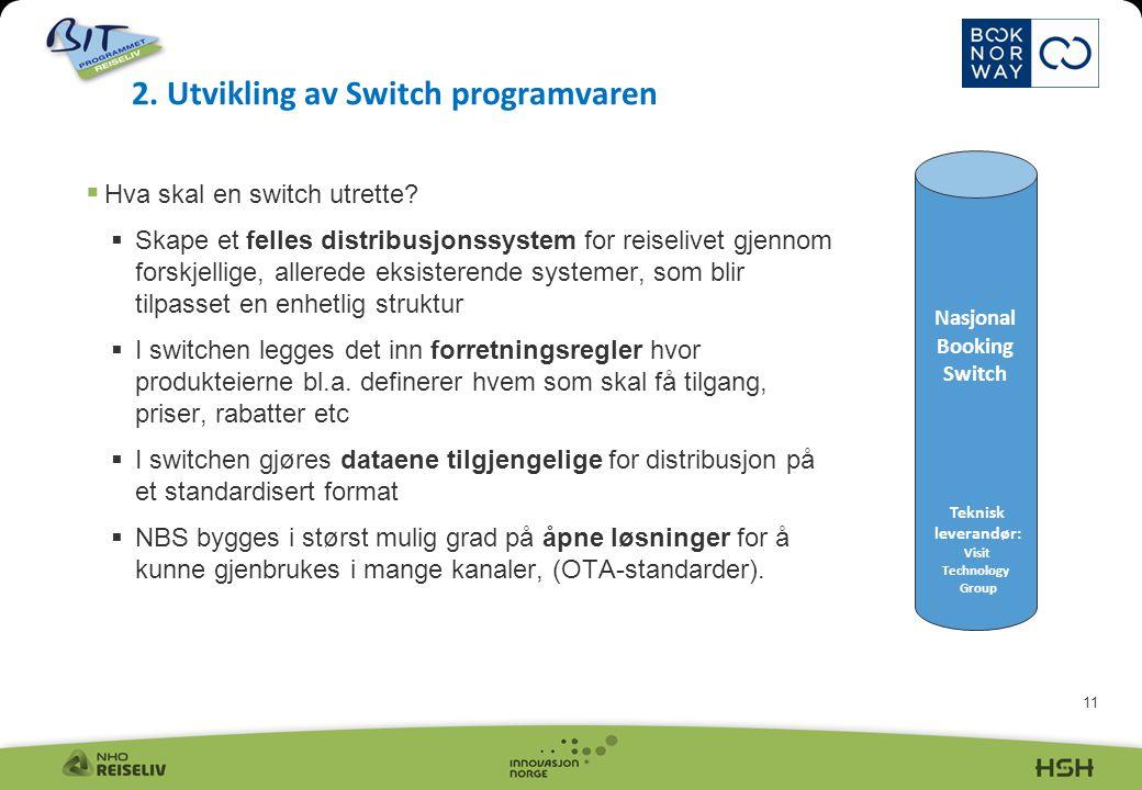 11  Hva skal en switch utrette?  Skape et felles distribusjonssystem for reiselivet gjennom forskjellige, allerede eksisterende systemer, som blir t