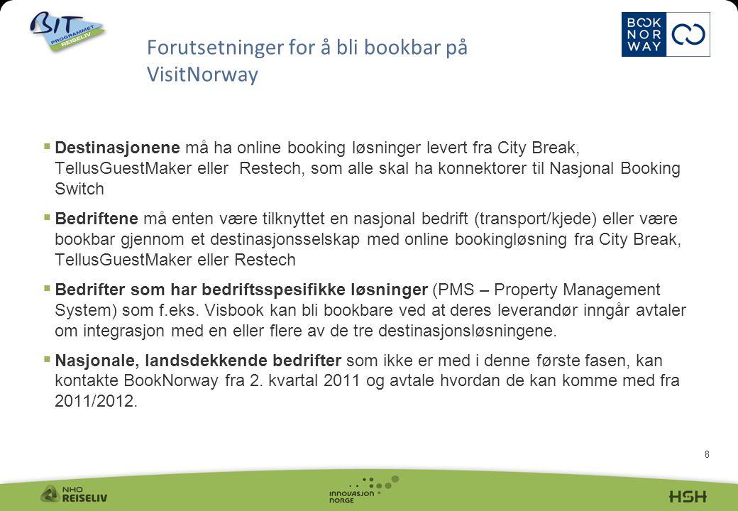8  Destinasjonene må ha online booking løsninger levert fra City Break, TellusGuestMaker eller Restech, som alle skal ha konnektorer til Nasjonal Boo