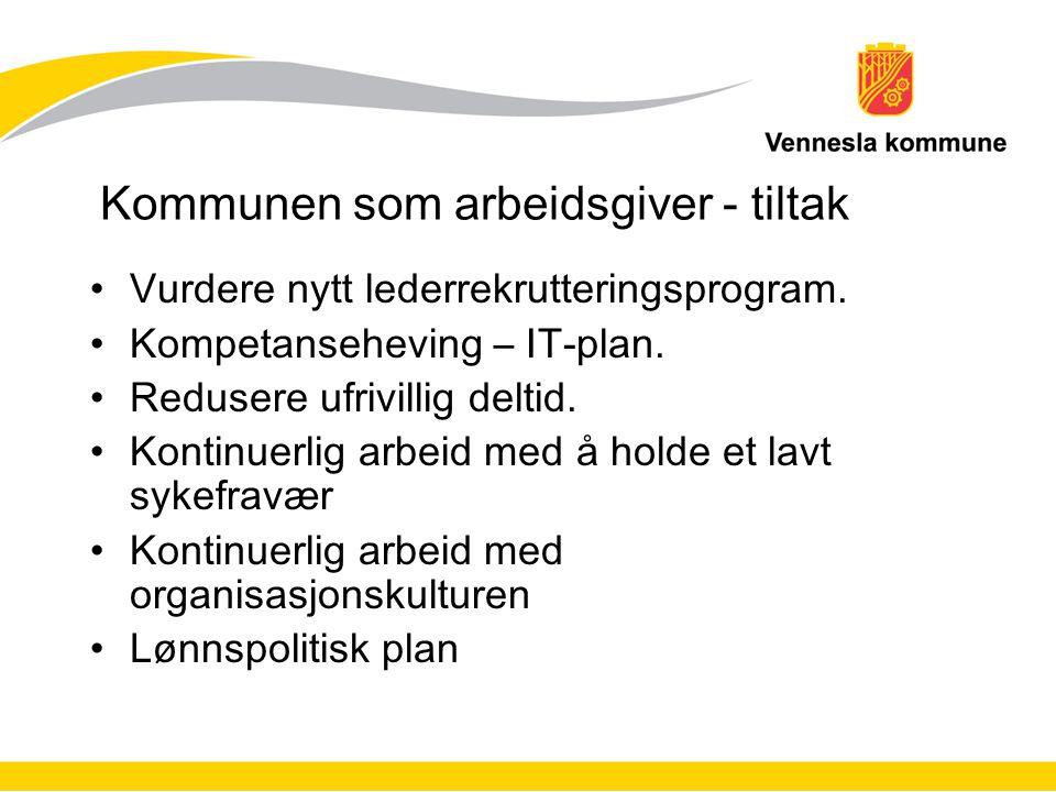 Kommunen som arbeidsgiver - tiltak Vurdere nytt lederrekrutteringsprogram. Kompetanseheving – IT-plan. Redusere ufrivillig deltid. Kontinuerlig arbeid