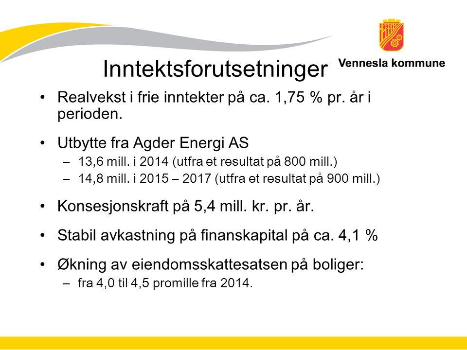 Inntektsforutsetninger Realvekst i frie inntekter på ca. 1,75 % pr. år i perioden. Utbytte fra Agder Energi AS –13,6 mill. i 2014 (utfra et resultat p