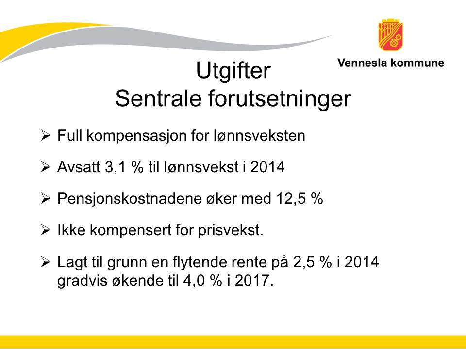 Utgifter Sentrale forutsetninger  Full kompensasjon for lønnsveksten  Avsatt 3,1 % til lønnsvekst i 2014  Pensjonskostnadene øker med 12,5 %  Ikke