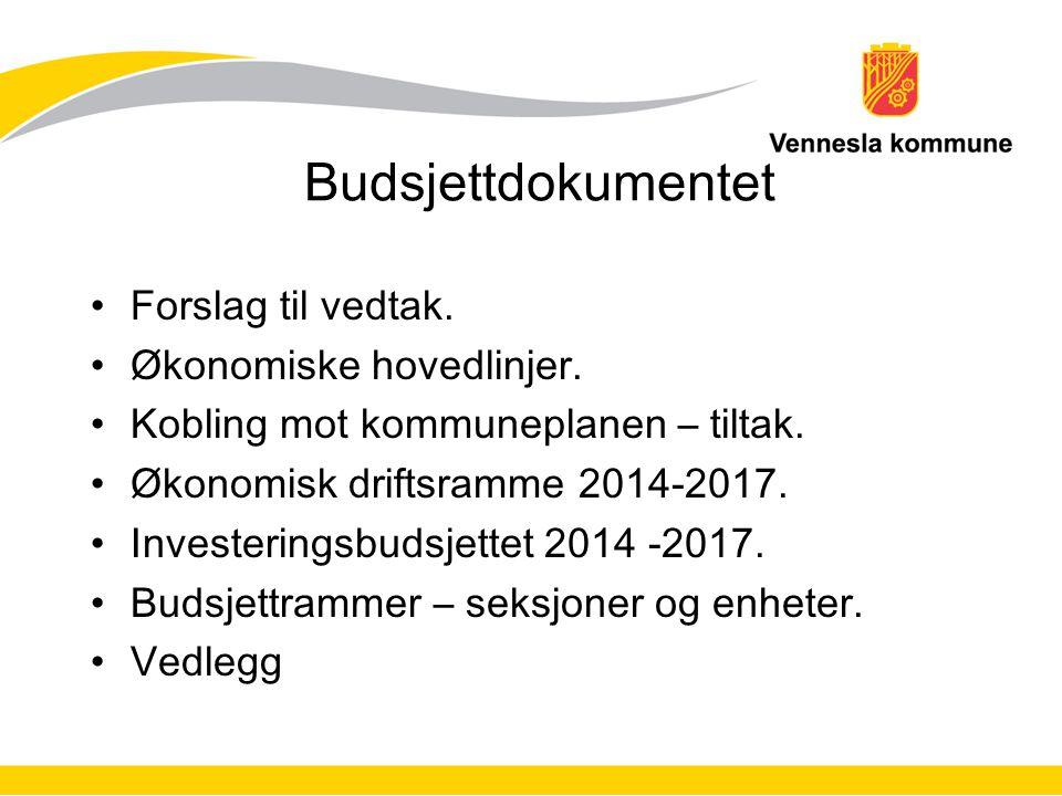 Budsjettdokumentet Forslag til vedtak. Økonomiske hovedlinjer. Kobling mot kommuneplanen – tiltak. Økonomisk driftsramme 2014-2017. Investeringsbudsje
