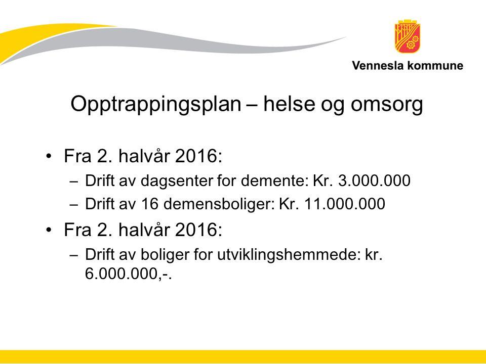 Opptrappingsplan – helse og omsorg Fra 2. halvår 2016: –Drift av dagsenter for demente: Kr. 3.000.000 –Drift av 16 demensboliger: Kr. 11.000.000 Fra 2