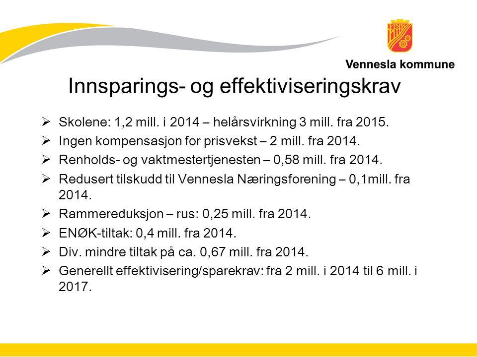 Innsparings- og effektiviseringskrav  Skolene: 1,2 mill. i 2014 – helårsvirkning 3 mill. fra 2015.  Ingen kompensasjon for prisvekst – 2 mill. fra 2