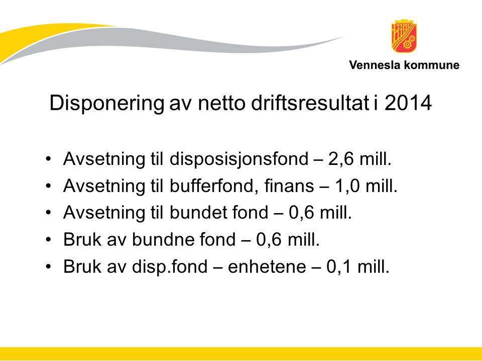Disponering av netto driftsresultat i 2014 Avsetning til disposisjonsfond – 2,6 mill. Avsetning til bufferfond, finans – 1,0 mill. Avsetning til bunde