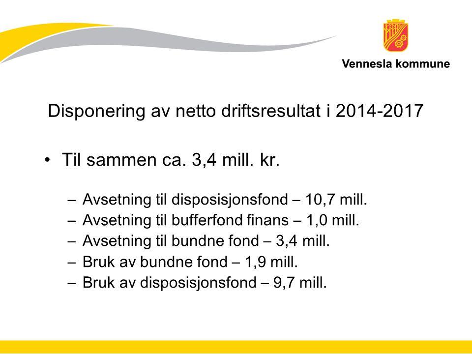 Disponering av netto driftsresultat i 2014-2017 Til sammen ca. 3,4 mill. kr. –Avsetning til disposisjonsfond – 10,7 mill. –Avsetning til bufferfond fi