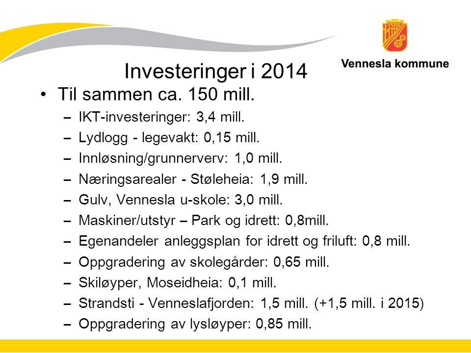 Investeringer i 2014 Til sammen ca. 150 mill. –IKT-investeringer: 3,4 mill. –Lydlogg - legevakt: 0,15 mill. –Innløsning/grunnerverv: 1,0 mill. –Næring