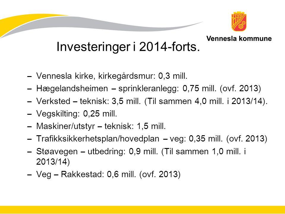 Investeringer i 2014-forts. –Vennesla kirke, kirkegårdsmur: 0,3 mill. –Hægelandsheimen – sprinkleranlegg: 0,75 mill. (ovf. 2013) –Verksted – teknisk: