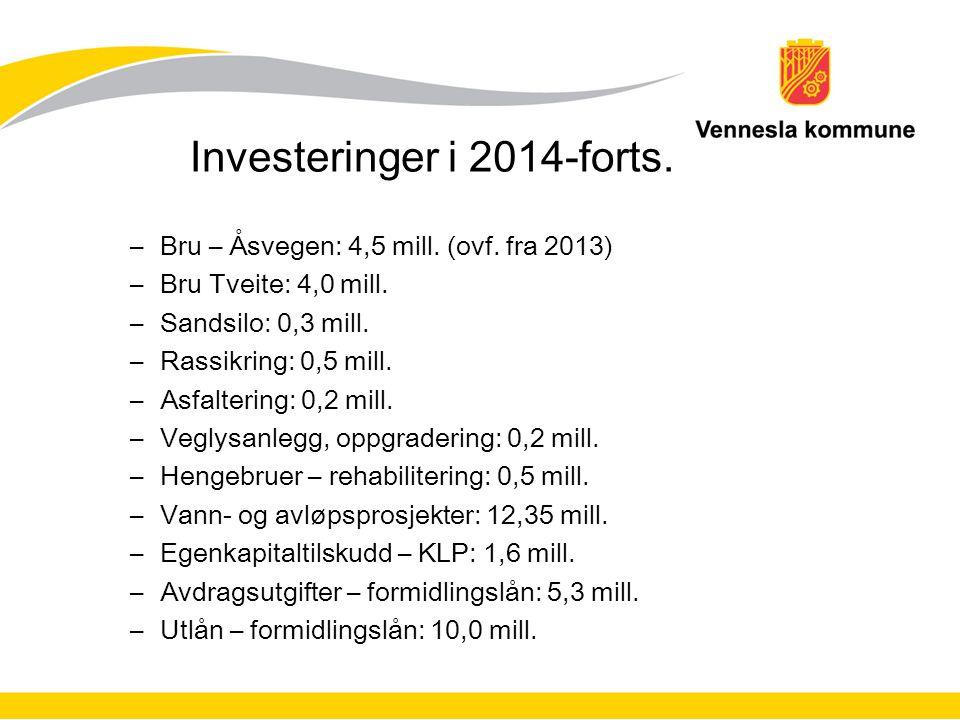 Investeringer i 2014-forts. –Bru – Åsvegen: 4,5 mill. (ovf. fra 2013) –Bru Tveite: 4,0 mill. –Sandsilo: 0,3 mill. –Rassikring: 0,5 mill. –Asfaltering: