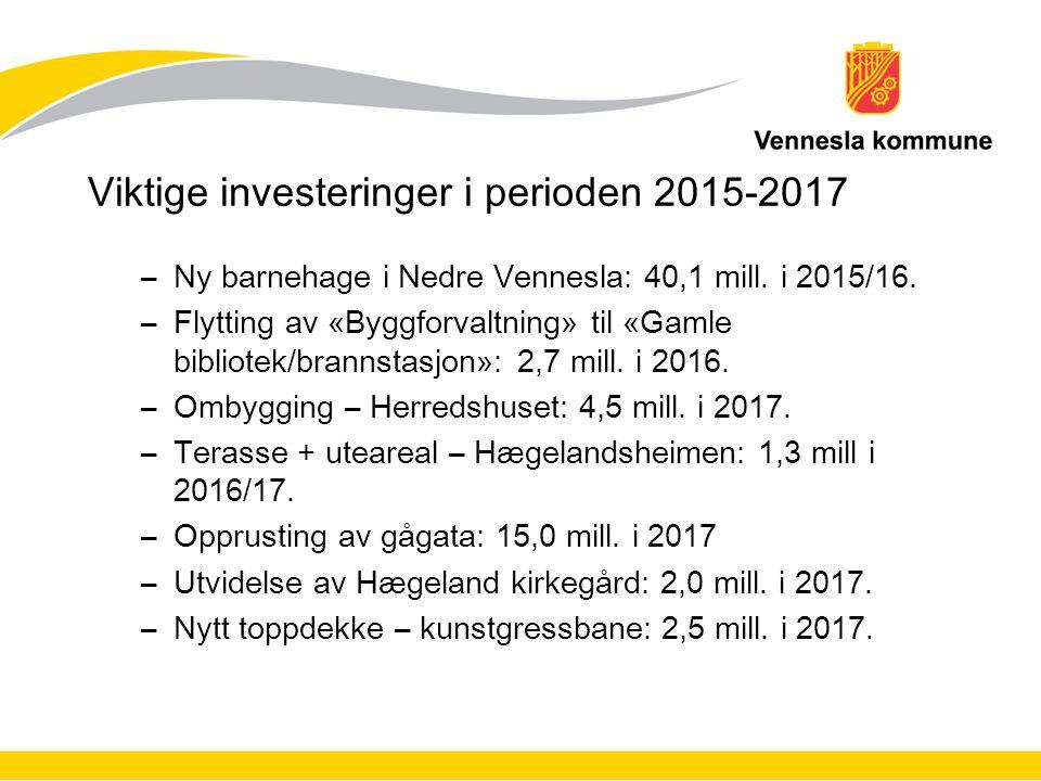 Viktige investeringer i perioden 2015-2017 –Ny barnehage i Nedre Vennesla: 40,1 mill. i 2015/16. –Flytting av «Byggforvaltning» til «Gamle bibliotek/b