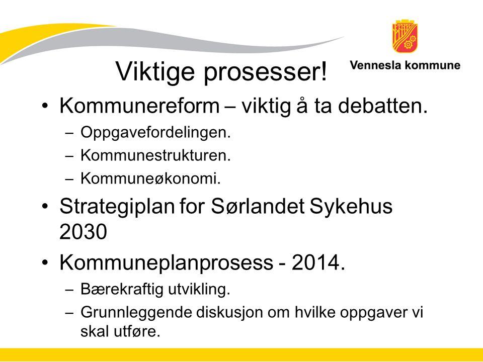Viktige prosesser! Kommunereform – viktig å ta debatten. –Oppgavefordelingen. –Kommunestrukturen. –Kommuneøkonomi. Strategiplan for Sørlandet Sykehus