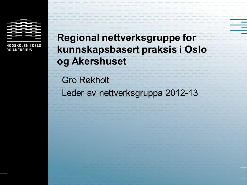 Regional nettverksgruppe for kunnskapsbasert praksis i Oslo og Akershuset Gro Røkholt Leder av nettverksgruppa 2012-13