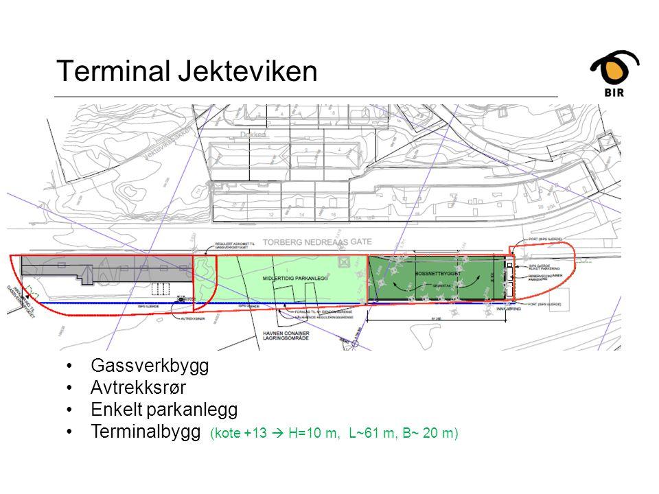 Terminal Jekteviken Gassverkbygg Avtrekksrør Enkelt parkanlegg Terminalbygg (kote +13  H=10 m, L~61 m, B~ 20 m)