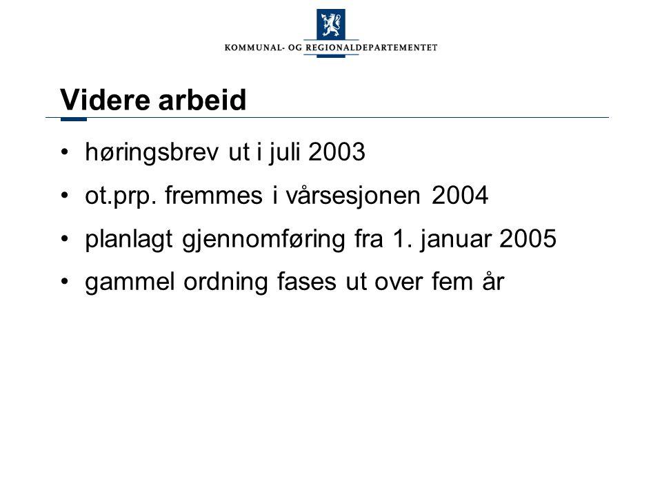 Videre arbeid høringsbrev ut i juli 2003 ot.prp. fremmes i vårsesjonen 2004 planlagt gjennomføring fra 1. januar 2005 gammel ordning fases ut over fem