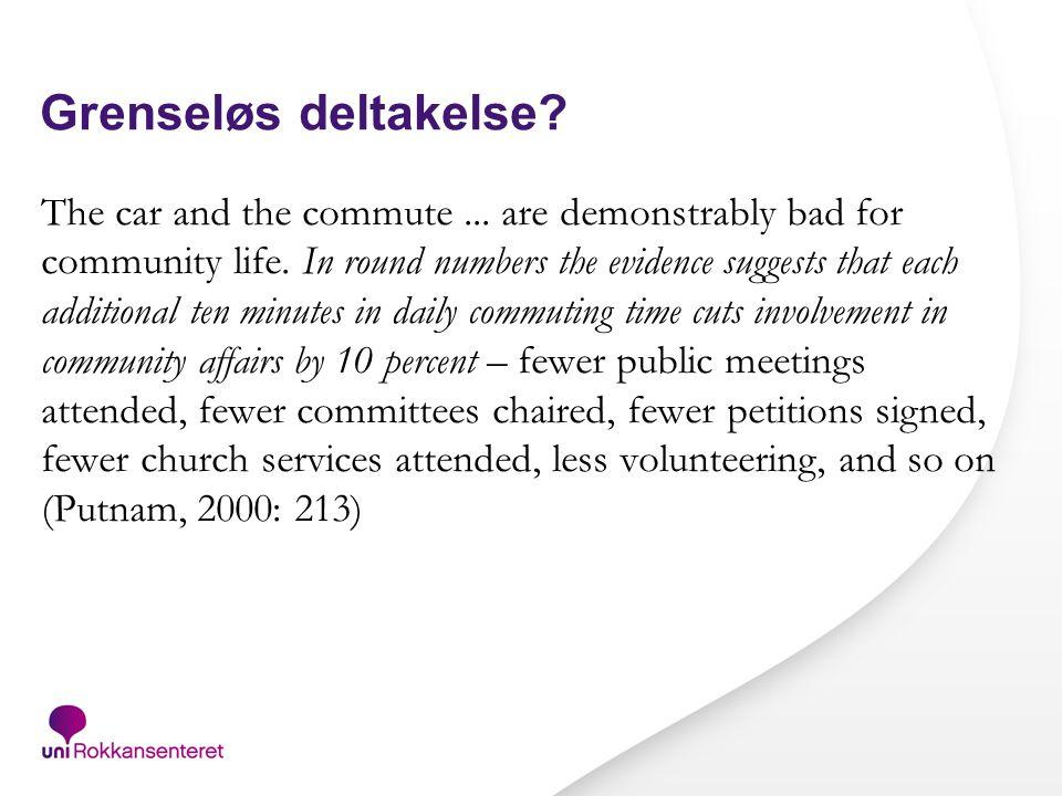 Noen problemstillinger Demokrati/deltakelse Tid Tilhørighet Heterogenitet/homogenitet Styring Konsolidering vs.