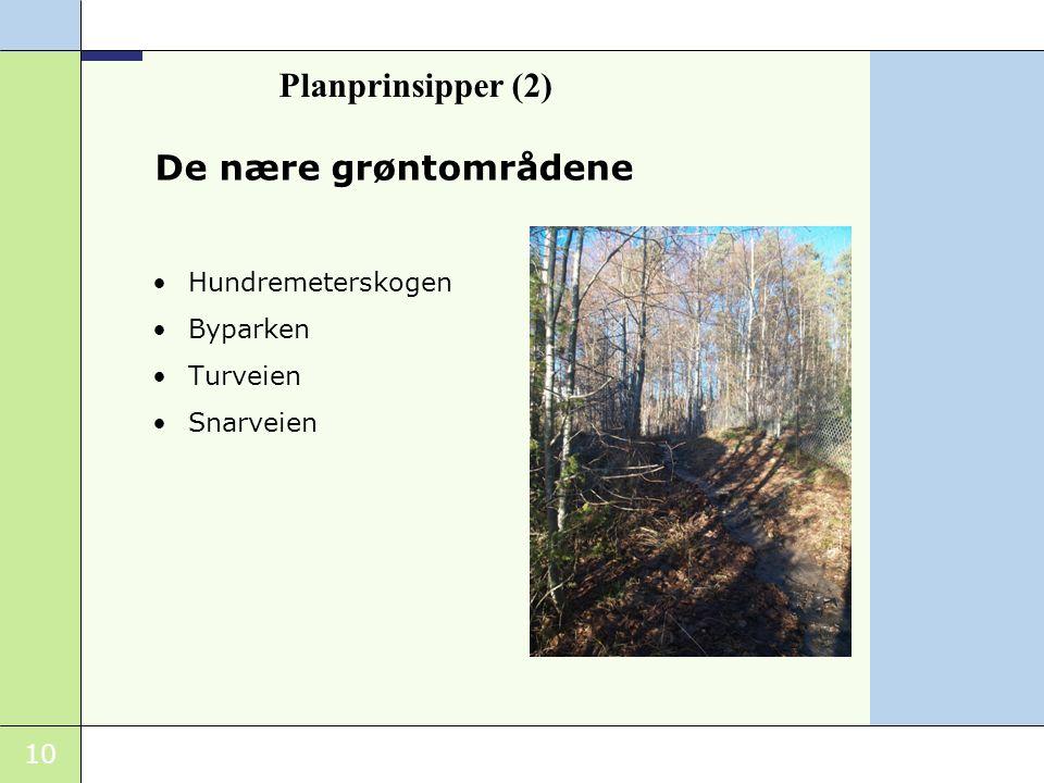 10 De nære grøntområdene Hundremeterskogen Byparken Turveien Snarveien Planprinsipper (2)