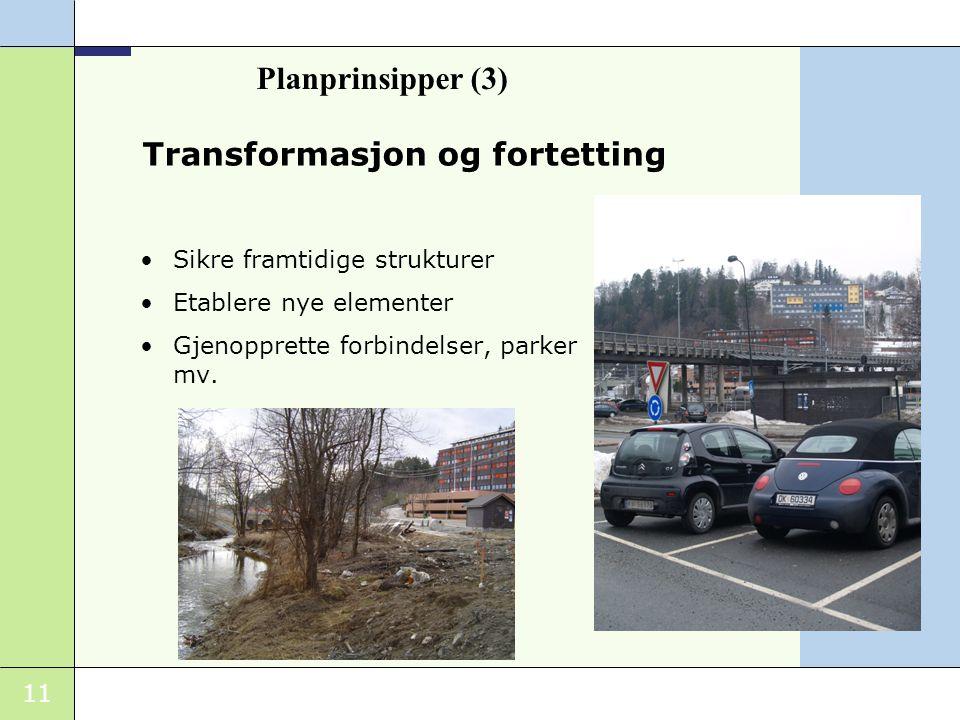 11 Transformasjon og fortetting Sikre framtidige strukturer Etablere nye elementer Gjenopprette forbindelser, parker mv. Planprinsipper (3)