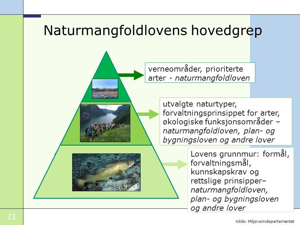21 Naturmangfoldlovens hovedgrep verneområder, prioriterte arter - naturmangfoldloven utvalgte naturtyper, forvaltningsprinsippet for arter, økologisk