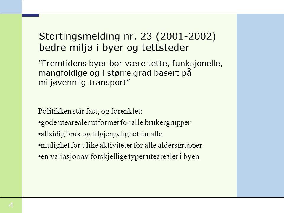 5 Statlige planretningslinjer med føringer for grønnstruktur Rikspolitiske retningslinjer for barn og planlegging (1995) Rikspolitiske retningslinjer for planlegging i kyst- og sjøområder i Oslofjordregionen(1993) Rikspolitiske retningslinjer for vernede vassdrag (1995) Rikspolitiske retningslinjer for samordnet areal- og transportplanlegging.