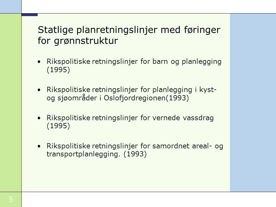 5 Statlige planretningslinjer med føringer for grønnstruktur Rikspolitiske retningslinjer for barn og planlegging (1995) Rikspolitiske retningslinjer