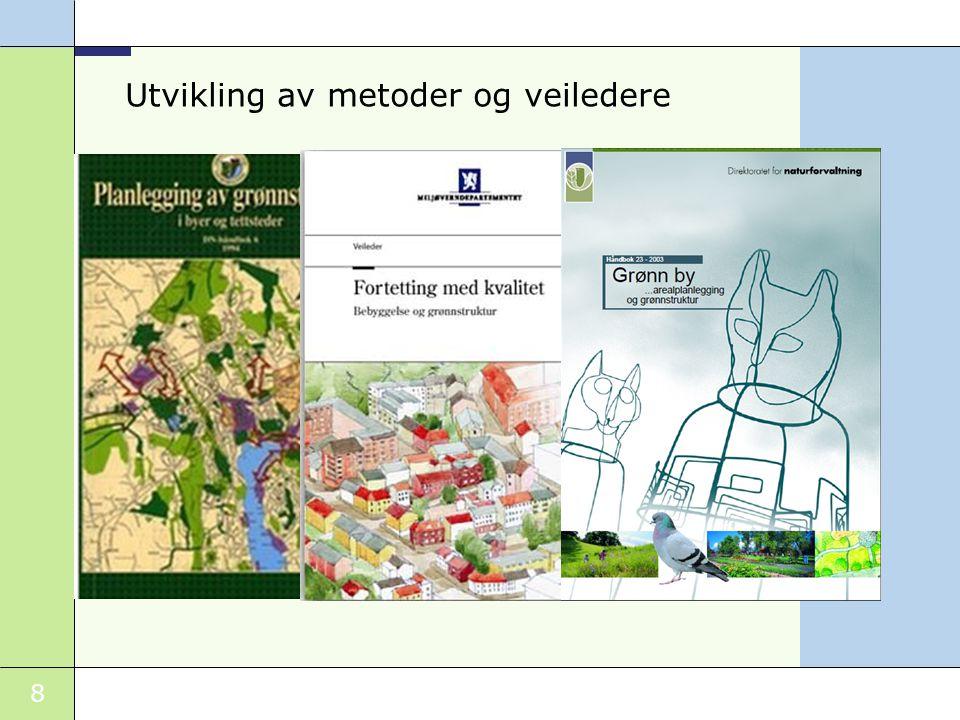 9 Sammenhengende grønnstruktur og vannmiljø - den blågrønne strukturen Sikres på overordnet nivået som viktig element i regionale planer, kommune- planen og by- og tettstedsstrukturen Binde sammen sentrum - boligområder- skoler- barnehager Tilgjengelighet til sjø, elver og omkringliggende naturterreng /- marka Planprinsipper (1)