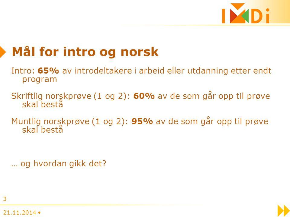 Mål for intro og norsk Intro: 65% av introdeltakere i arbeid eller utdanning etter endt program Skriftlig norskprøve (1 og 2): 60% av de som går opp t