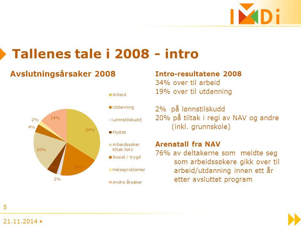 Tallenes tale i 2008 - intro Intro-resultatene 2008 34% over til arbeid 19% over til utdanning 2% på lønnstilskudd 20% på tiltak i regi av NAV og andr