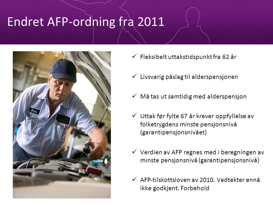 Endret AFP-ordning fra 2011 Fleksibelt uttakstidspunkt fra 62 år Livsvarig påslag til alderspensjonen Må tas ut samtidig med alderspensjon Uttak før fylte 67 år krever oppfyllelse av folketrygdens minste pensjonsnivå (garantipensjonsnivået) Verdien av AFP regnes med i beregningen av minste pensjonsnivå (garantipensjonsnivå) AFP-tilskottsloven av 2010.