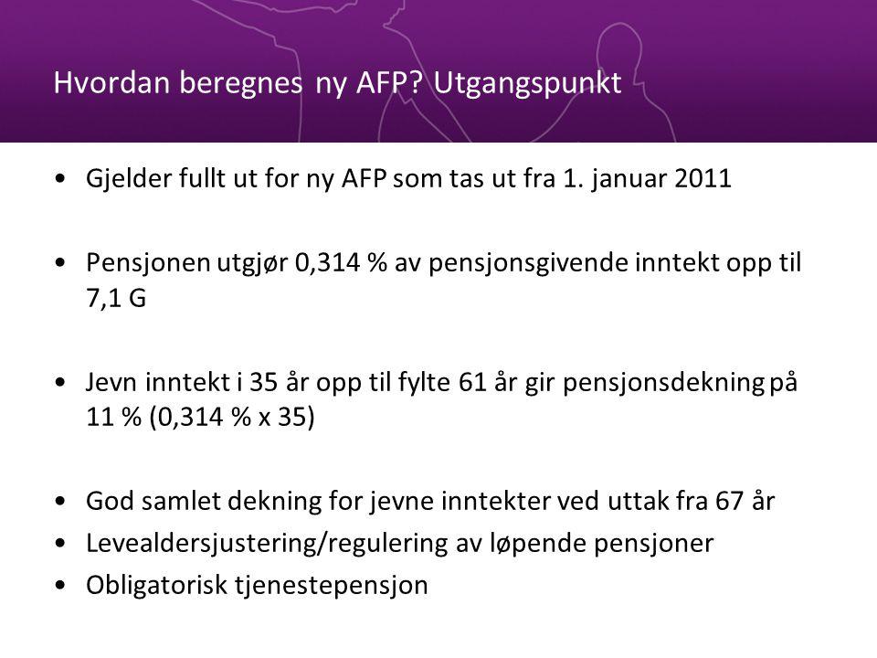 Hvordan beregnes ny AFP? Utgangspunkt Gjelder fullt ut for ny AFP som tas ut fra 1. januar 2011 Pensjonen utgjør 0,314 % av pensjonsgivende inntekt op