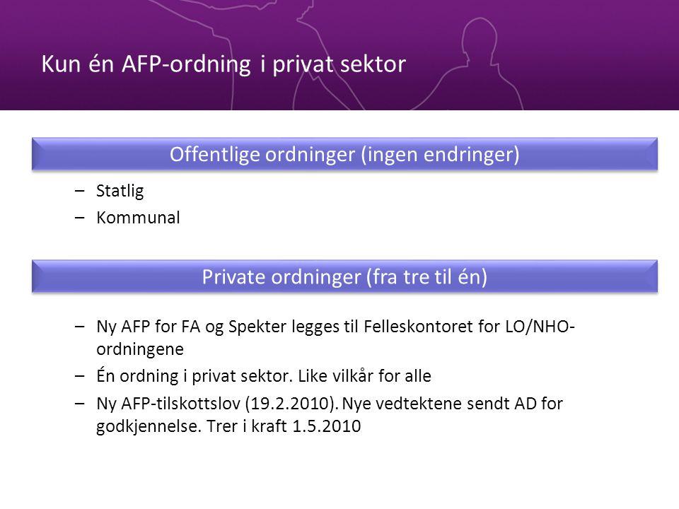 Kun én AFP-ordning i privat sektor –Statlig –Kommunal –Ny AFP for FA og Spekter legges til Felleskontoret for LO/NHO- ordningene –Én ordning i privat sektor.