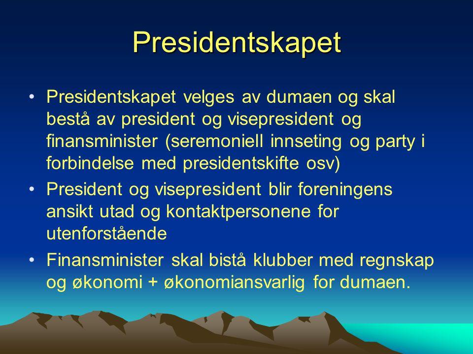 Presidentskapet Presidentskapet velges av dumaen og skal bestå av president og visepresident og finansminister (seremoniell innseting og party i forbi