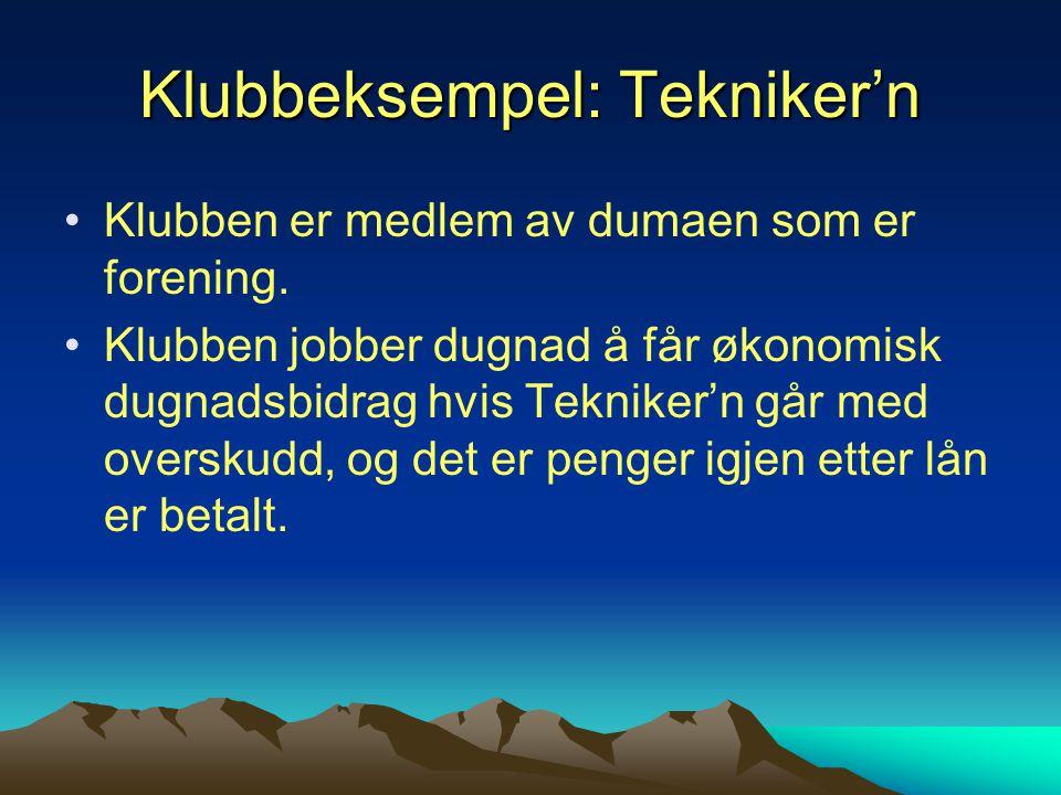 Klubbeksempel: Tekniker'n Klubben er medlem av dumaen som er forening.
