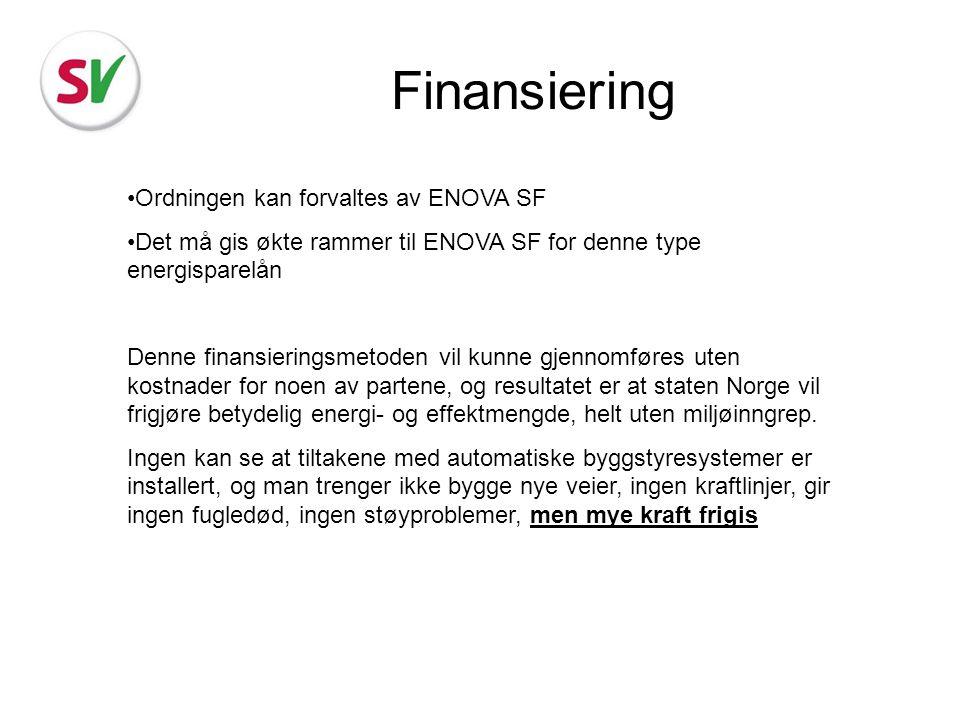 Finansiering Ordningen kan forvaltes av ENOVA SF Det må gis økte rammer til ENOVA SF for denne type energisparelån Denne finansieringsmetoden vil kunn