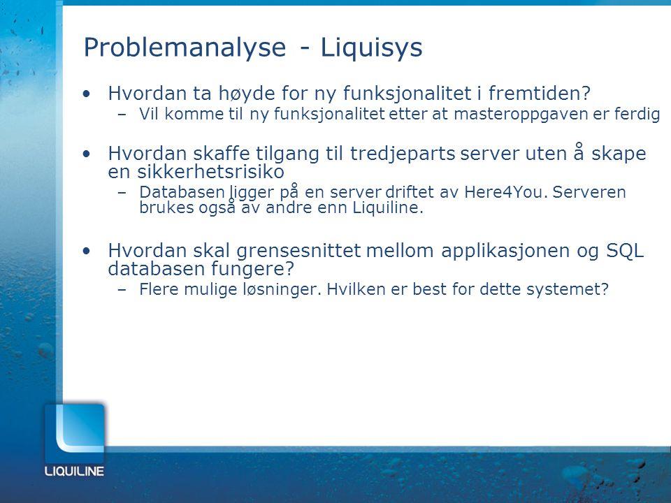 Problemanalyse - Liquisys Hvordan ta høyde for ny funksjonalitet i fremtiden? –Vil komme til ny funksjonalitet etter at masteroppgaven er ferdig Hvord