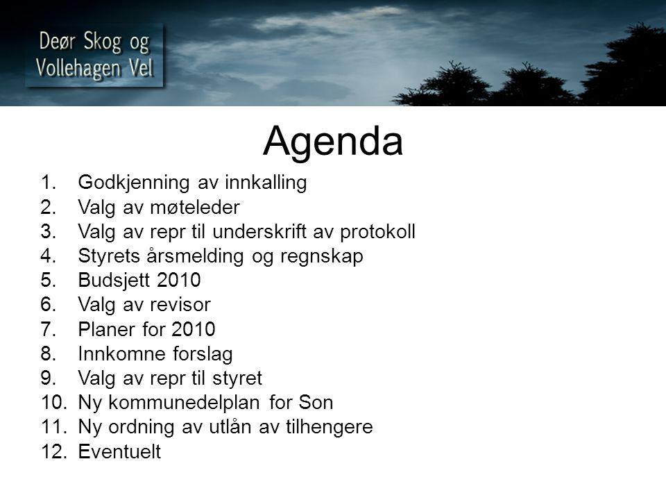 Agenda 1.Godkjenning av innkalling 2.Valg av møteleder 3.Valg av repr til underskrift av protokoll 4.Styrets årsmelding og regnskap 5.Budsjett 2010 6.