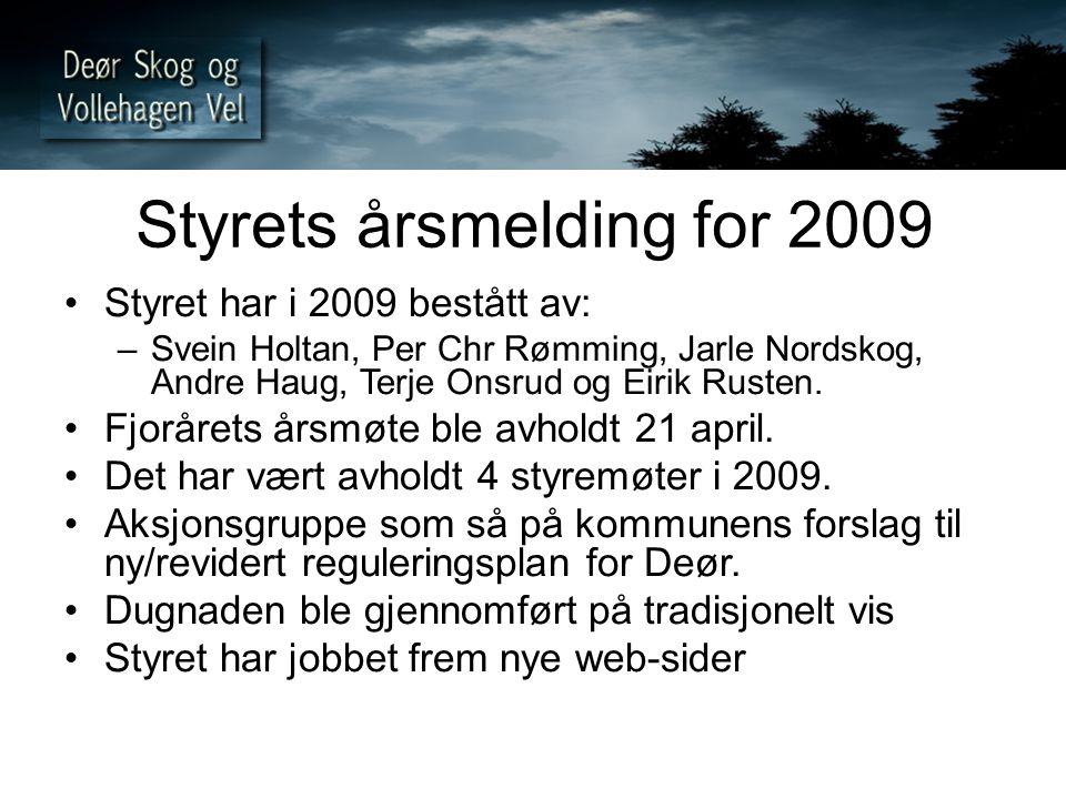 Styrets årsmelding for 2009 Styret har i 2009 bestått av: –Svein Holtan, Per Chr Rømming, Jarle Nordskog, Andre Haug, Terje Onsrud og Eirik Rusten. Fj