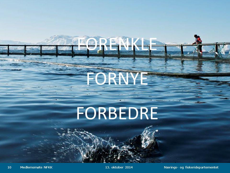Nærings- og fiskeridepartementet Norsk mal: Tabell Tips farger: FKDs fargepalett er lagt inn i malen og vil brukes automatisk i diagrammer og grafer 13.