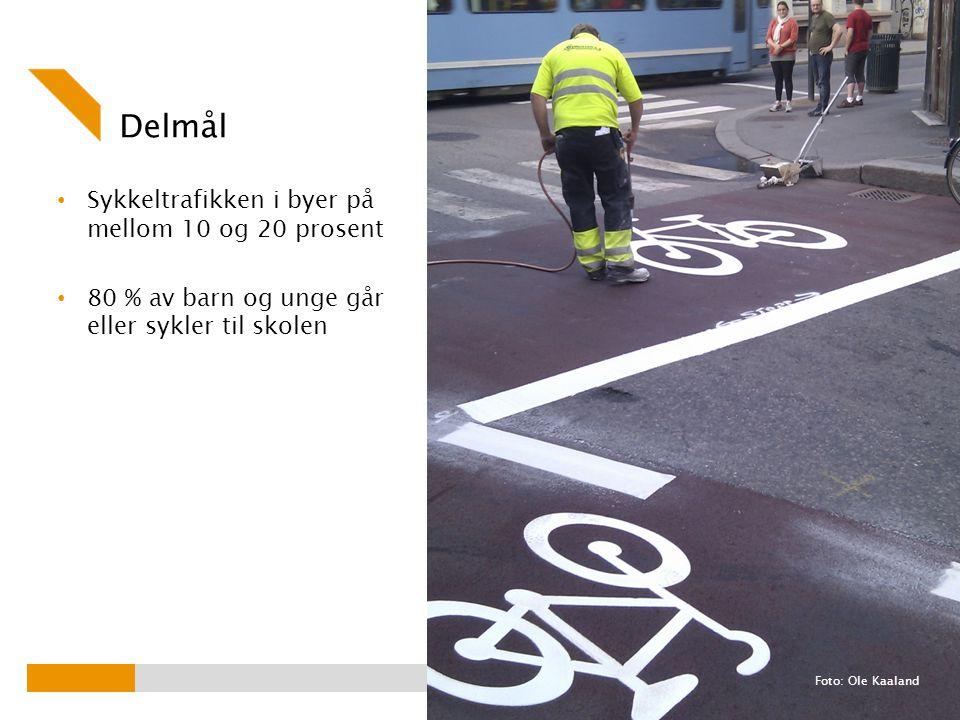 Delmål Sykkeltrafikken i byer på mellom 10 og 20 prosent 80 % av barn og unge går eller sykler til skolen Foto: Ole Kaaland