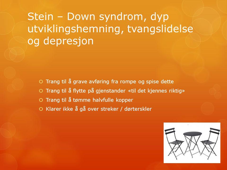 Stein – Down syndrom, dyp utviklingshemning, tvangslidelse og depresjon  Trang til å grave avføring fra rompe og spise dette  Trang til å flytte på gjenstander «til det kjennes riktig»  Trang til å tømme halvfulle kopper  Klarer ikke å gå over streker / dørterskler