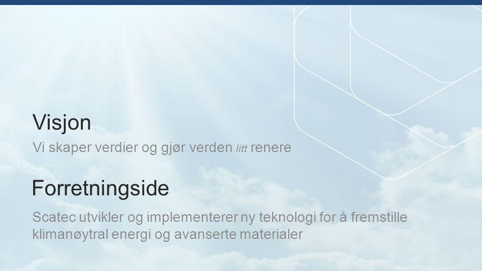 Litt historie… Gjennom Scatec er følgende selskap etablert: PhotoCure i 1993 (Oslo Børs) Renewable Energy Corp (REC) i 2000, børsnotert i 2006 på Oslo Børs ScanWafer (1994), ScanCell (1998) ScanModule (2002), SolEnergy (1999), SiTech (2004) Scatec Solar – 2007 Notert på Oslo Børs, oktober 2014 Norsk Titanium – 2004 NorSun – 2005 Thor Energy – 2006 Scatec Power – 2008 REEtec (2008) TEGma - 2012 SCATEC ble etablert i 1987 av Alf Bjørseth