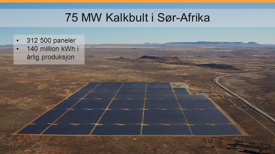 75 MW Kalkbult i Sør-Afrika 312 500 paneler 140 million kWh i årlig produksjon